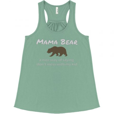 Green Mama Bear women's flowy tank